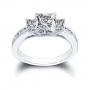 3-Stone Princess Channel Set Diamond Ring