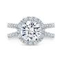 Halo Twisted Split Shank Diamond Engagement Ring