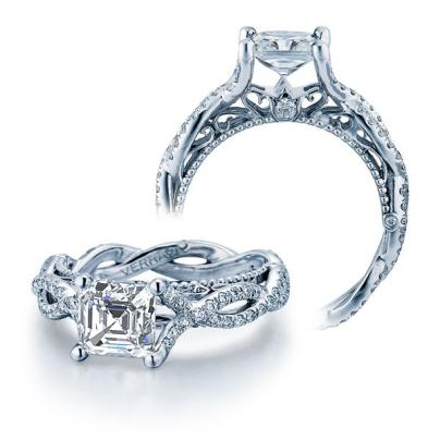 Hand Engraved Asscher cut Engagement Rings