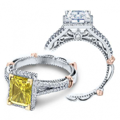 Two Tone Yellow Diamond Engagement Rings