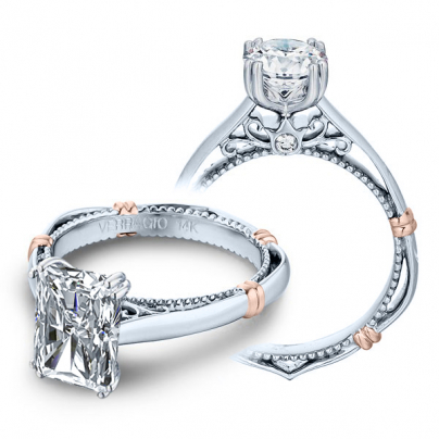 Milgrains Radiant cut Engagement Rings