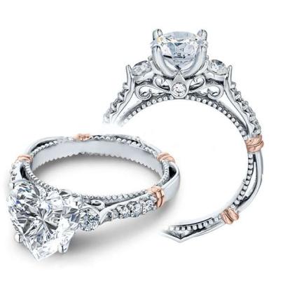 Bar Set Heart Shape Engagement Rings