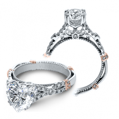 Milgrains Heart Shape Engagement Rings