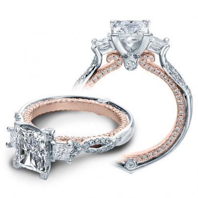 Micro Pave Radiant cut Engagement Rings