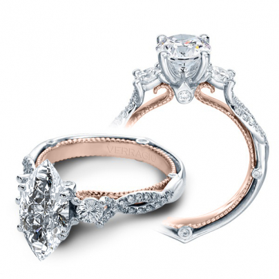 Two Tone Marquise cut Engagement Rings