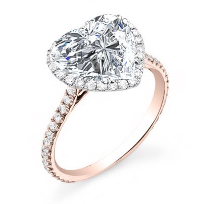 Rose Gold Heart Shape Engagement Rings