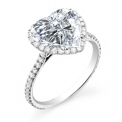 Micro Pave Heart Shape Engagement Rings