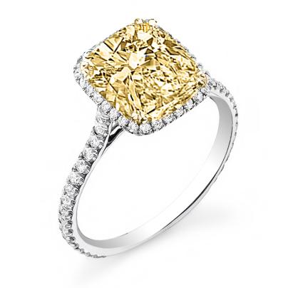 Cushion cut Yellow Diamond Engagement Rings
