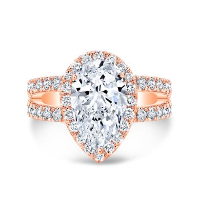 Rose Gold Pear Cut Engagement Rings Diamond Mansion