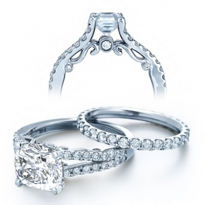 Hand Engraved Cushion cut Engagement Rings