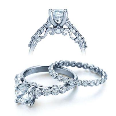 Hand Engraved Bezel Set Engagement Rings