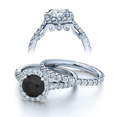 Halo Black Diamond Engagement Rings