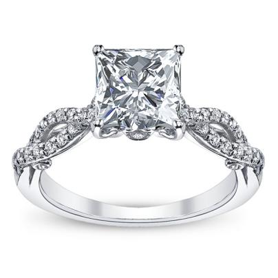 Princess cut Pave Engagement Rings