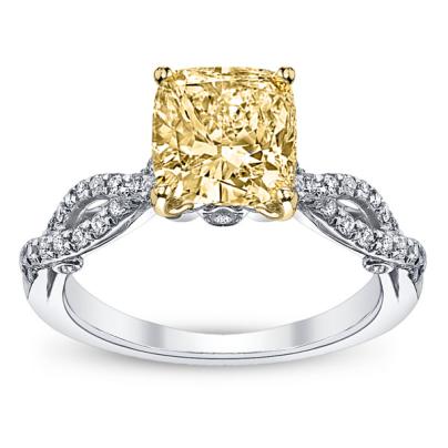 Split Shank Yellow Diamond Engagement Rings
