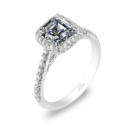 Micro Pave Asscher cut Engagement Rings