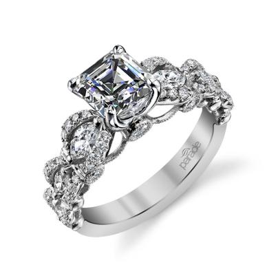 Cluster Asscher cut Engagement Rings