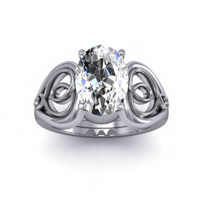 Hearts Oval cut Engagement Rings