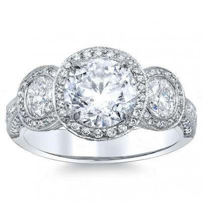 Filigree Three Stone Engagement Rings