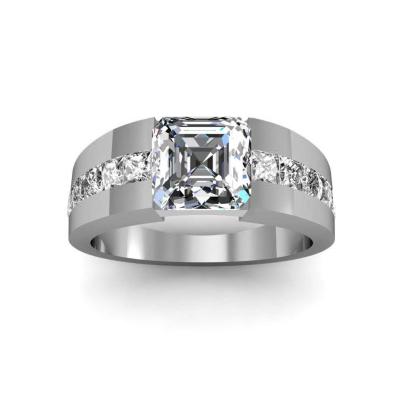 Tension Asscher cut Engagement Rings