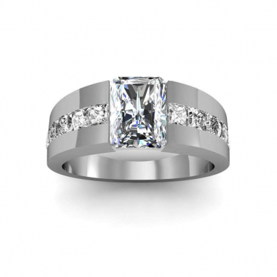Bar Set Radiant cut Engagement Rings