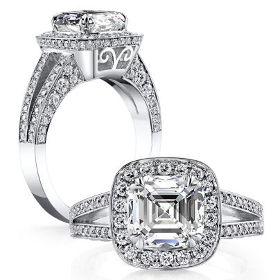 Filigree Asscher cut Engagement Rings