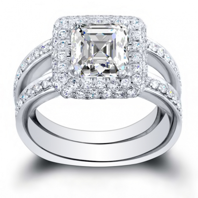 Double Halo White Gold Engagement Rings
