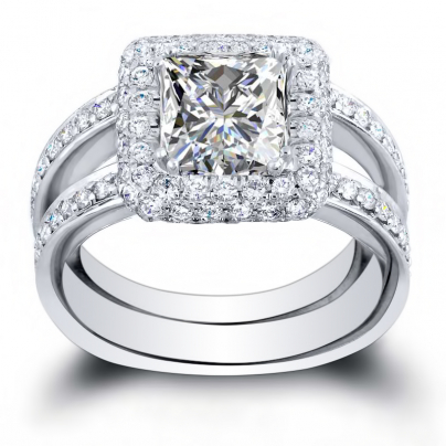 Double Halo Princess cut Engagement Rings