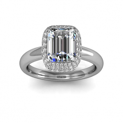 Contemporary Emerald cut Engagement Rings