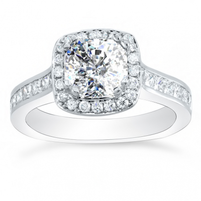 Cushion cut Channel Set Engagement Rings