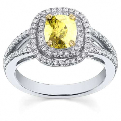 Cathedral Yellow Diamond Engagement Rings
