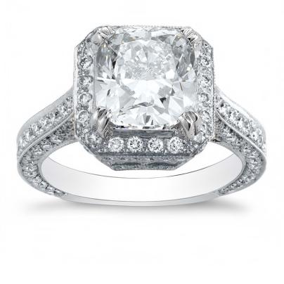 Milgrains Radiant cut Engagement Rings