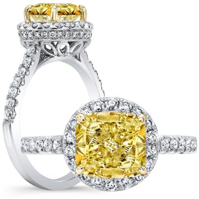 Infinity Yellow Diamond Engagement Rings