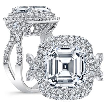 Double Halo Asscher cut Engagement Rings