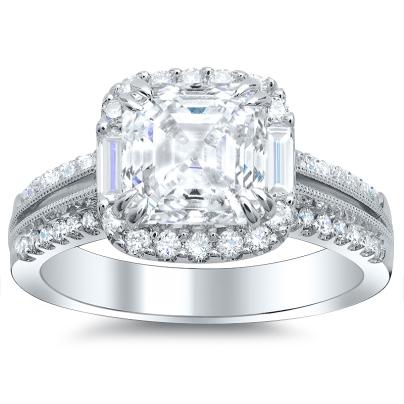 Baguette Accents Asscher cut Engagement Rings