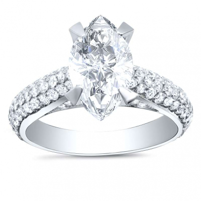 Cathedral Marquise cut Engagement Rings