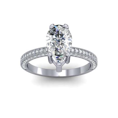 Milgrains Pear cut Engagement Rings