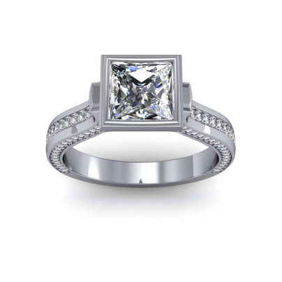 Cathedral Bezel Set Engagement Rings