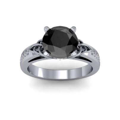 Trellis Black Diamond Engagement Rings