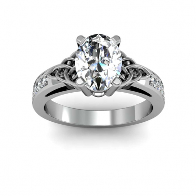 Trellis Oval cut Engagement Rings