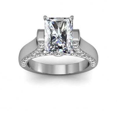 Cathedral Radiant cut Engagement Rings