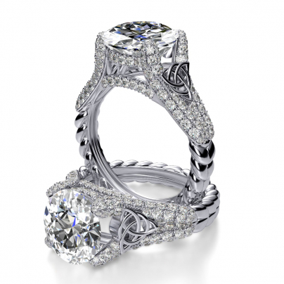 Cathedral Oval cut Engagement Rings