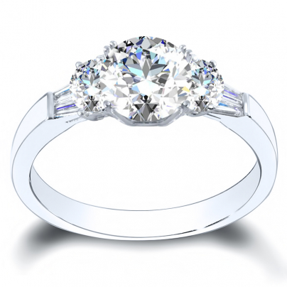 Bar Set Round cut Engagement Rings