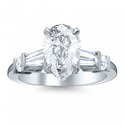 Tension Pear cut Engagement Rings
