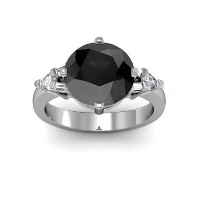 Baguette Accents Black Diamond Engagement Rings
