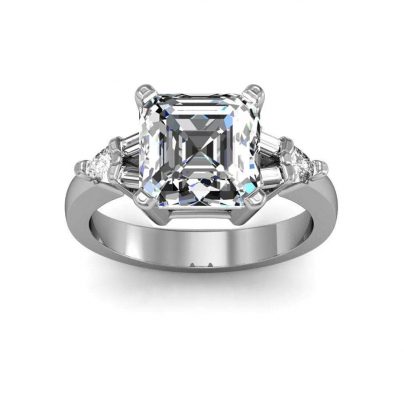 Baguette Accents Asscher cut Engagement Rings