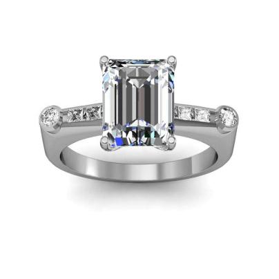 Bar Set Emerald cut Engagement Rings