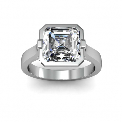 European Asscher cut Engagement Rings