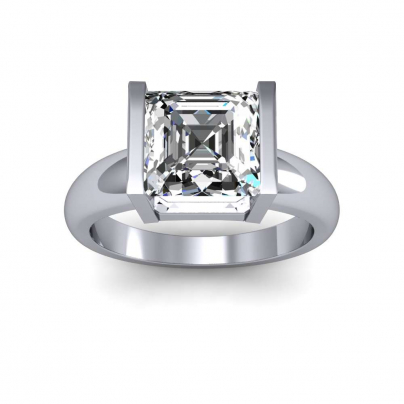 Tension Asscher cut Engagement Rings