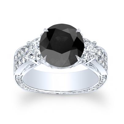 Euro Shank Black Diamond Engagement Rings