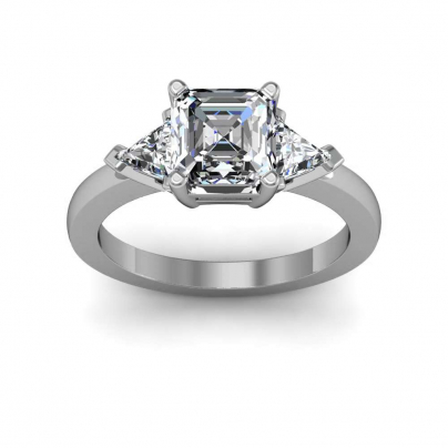 Asscher cut Three Stone Engagement Rings